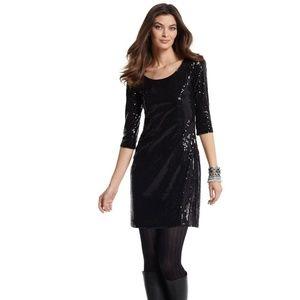 WHBM sequined black shift dress